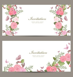 collection invitation cards with blossom of roses vector image