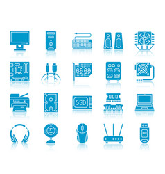 computer color silhouette icons set vector image