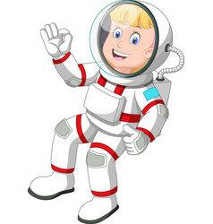 Cool astronaut man in white red suit uniform vector