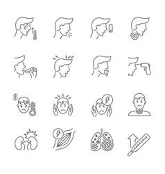 coronavirus symptoms thin line icons set vector image