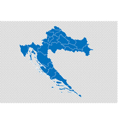 croatia map - high detailed blue map with vector image