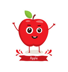 cute apple character vector image