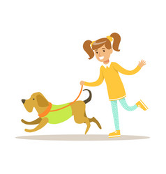 Cute smiling girl walking with her dog colorful vector