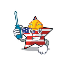 Cute usa star automotive cartoon design character vector