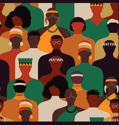 Diverse black africa people crowd seamless pattern vector