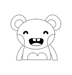 Dotted shape smile bear adorable wild animal vector