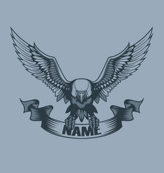 Eagle with banner in claws tattoo style vector