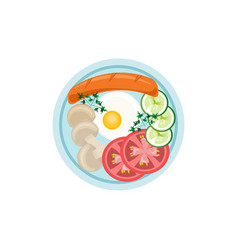 English breakfast plate flat style top view vector
