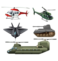 Fighting jetplane choppers cannon and tank vector image