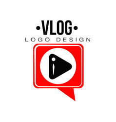 Flat emblem with black play button in red vector