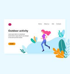 flat - sporty girl run vector image