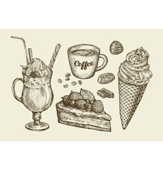 Food dessert drink Hand drawn ice cream sundae vector