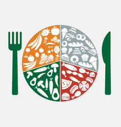 food icons in circle vector image