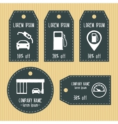Gas station discount gift tags from chalky texture vector