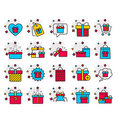 gifts line icons present offer and sale vector image