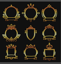 Gold heraldic baroque frame set on black vector
