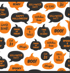 halloween speech bubbles black and orange comic vector image