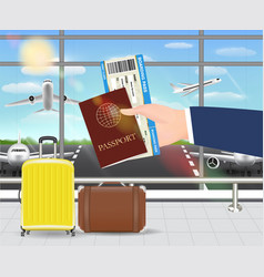 hand hold passport and boarding pass in airport vector image