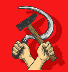 hands with hammer and sickle sketch engraving vector image