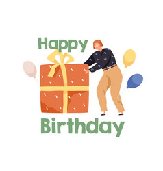 happy birthday concept with person pushing huge vector image