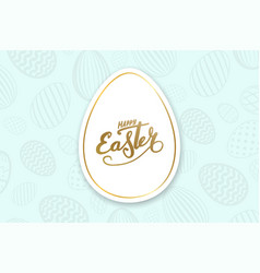 Happy easter background lettering eggs texture vector