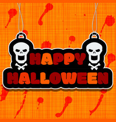 Happy halloween text on hanging sign or banner vector
