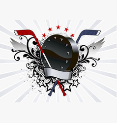 hockey emblem with a washer and wings vector image