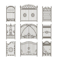 Iron gates with decorative elements vector