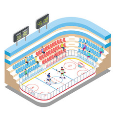 Isometric ice hockey stadium players and fans vector