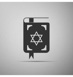Jewish torah book icon on grey background vector