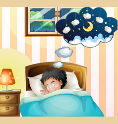 Kid sleeping in bed dreaming vector