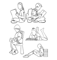 Kids reading book line art 02 vector