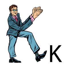 Letter k kay business people silhouette alphabet vector