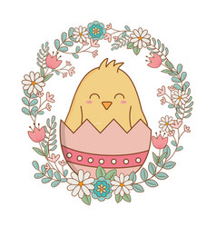 little chick with egg broken and wreath flowers vector image