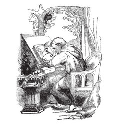 man painting repositories of medieval vintage vector image