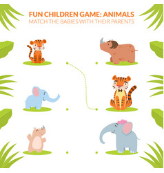 Match babies with their parents animals vector