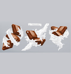 milk and chocolate 3d realistic icon vector image