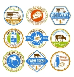 Milk Colored Emblems vector image