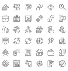 money payments and finance outline icons vector image
