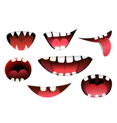 Mouth teeth and tongue isolated clipart vector