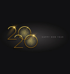 new year 2020 gold glitter black background card vector image
