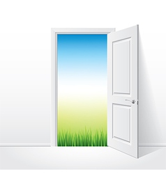 Object opened door grass vector
