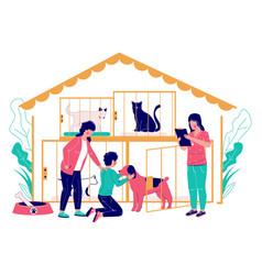 Pet shelter concept flat style design vector
