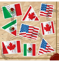 Postage stamps with flags vector image