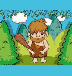 primitive man hunting with mallet in the bushes vector image
