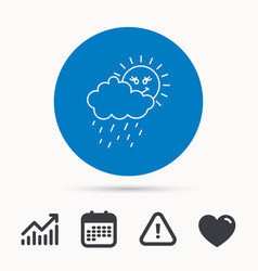 rain and sun icon water drops with cloud sign vector image