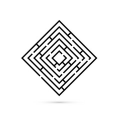 rectangle maze with way to center logic game vector image