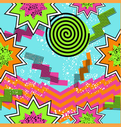 Retro 80s comic pattern background vector image
