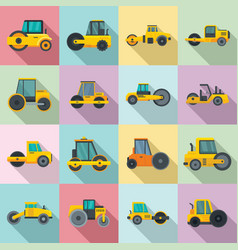 Road roller icons set flat style vector
