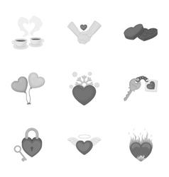 Romantic set icons in monochrome style Big vector
